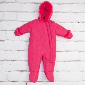 Rothschild Pink Hearts Fleece Hood Snow Suit 6-9 M